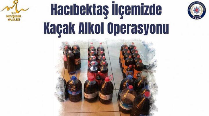 Hacıbektaş'ta 192 litre kaçak şarap ele geçirildi