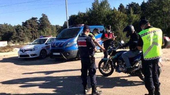 Sulusaray'da Jandarma'nın motosiklet denetimi