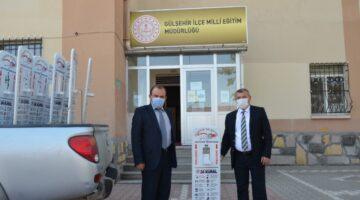 Gülşehir Belediyesinden okullara ayaklı dezenfektan desteği