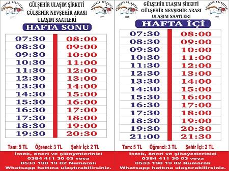 Gülşehir'de otobüs saatleri kısıtlamalara göre yeniden düzenlendi