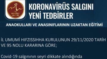Nevşehir'de resmî anaokullar uzaktan eğitime geçti