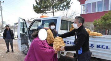 Hacıbektaş'ta ihtiyaç sahibi ailelere patates yardımı
