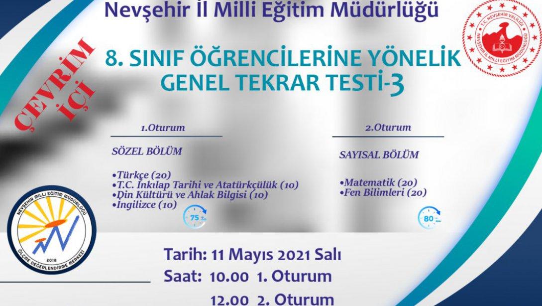 8. sınıflara yönelik genel test yapılacak