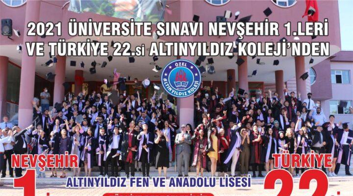 2021 Üniversite Sınavı Nevşehir1.leri ve Türkiye 22.si Altınyıldız Koleji'nden